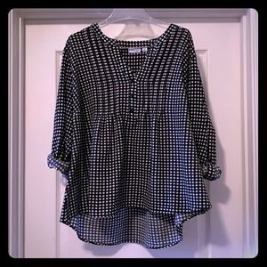 Kim Rogers Tops - Black & White checked shirt